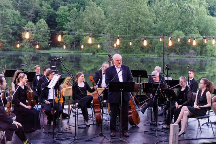 Richard Somerset Ward introduces Water Music on the lake in Far Hills