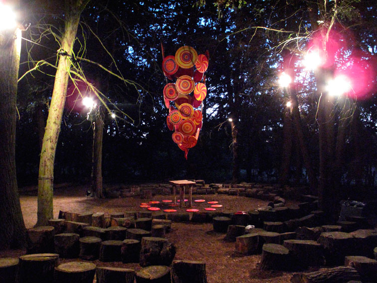 Pillar of Fire installation (night with altar)