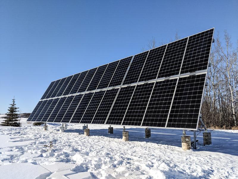 GROUND-MOUNT - A 10.9 kW tilt-able ground mount solar array near Stettler, Alberta.
