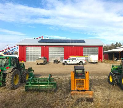 ROCKY MOUNTAIN HOUSE FARM shop - 15 kW farm install by Rocky Mountain House, Alberta.