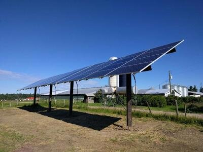 POLE- MOUNT ARRAY - 15 kW pole-mounted solar array North of Bluffton, Alberta.