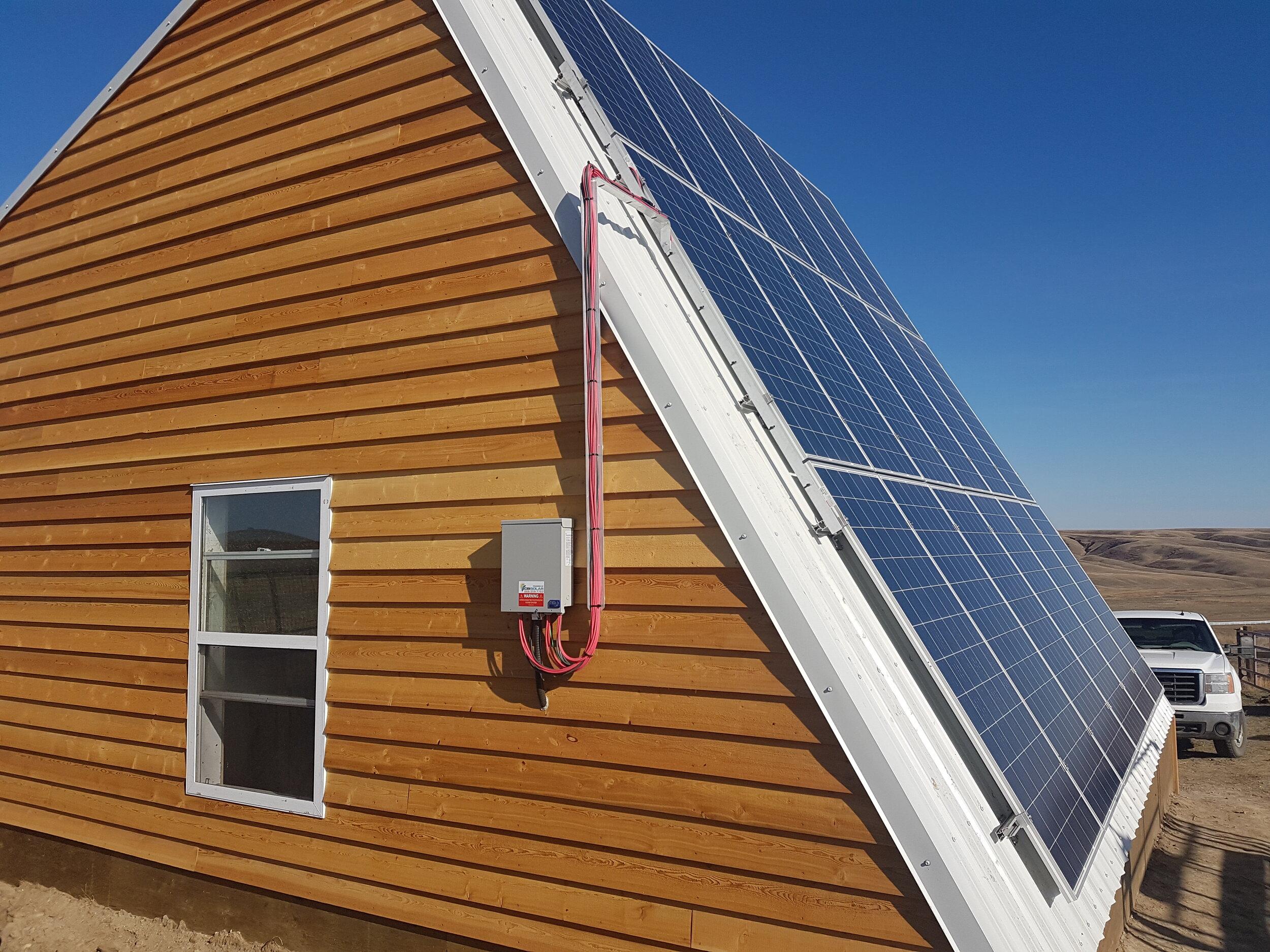 OFF-GRID PROJCET - 5.8 kWs of solar, 6.8 kW inverter, 6 kW genset, 40 kWs of battery storage in Southern Alberta.