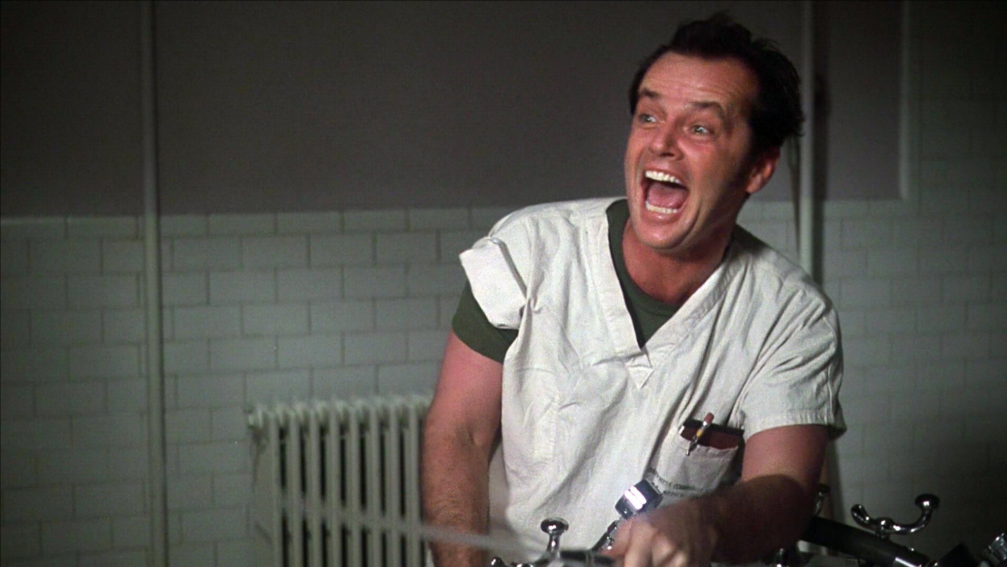 "Jack Nicholson en ""One Flew Over the Cuckoo's Nest."""