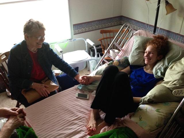 Abby and Grandma saying goodbye.