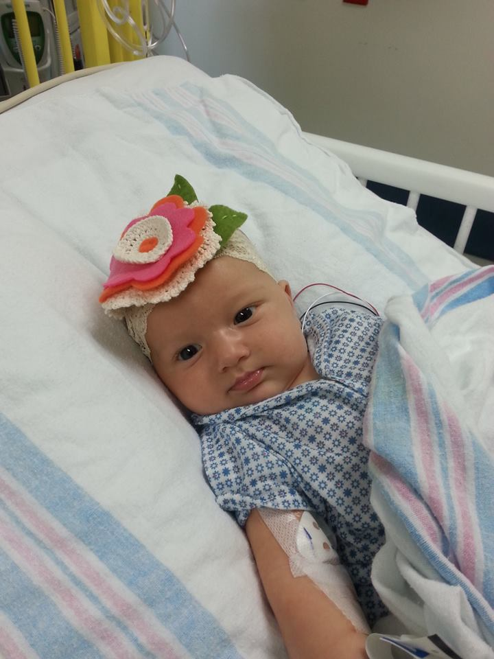 Little Corrie in a hospital bed   Hope with Biliary Atresia and Liver Transplant