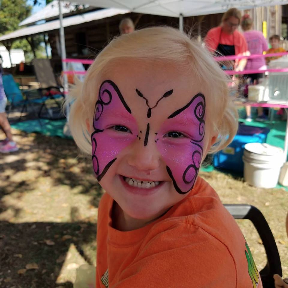 Corrie Smiling with Butterfly Face Paint   Hope with Biliary Atresia and Liver Transplant