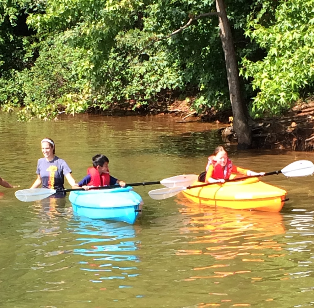 Kate and Charlie Kayaking with Blindness and Albinism