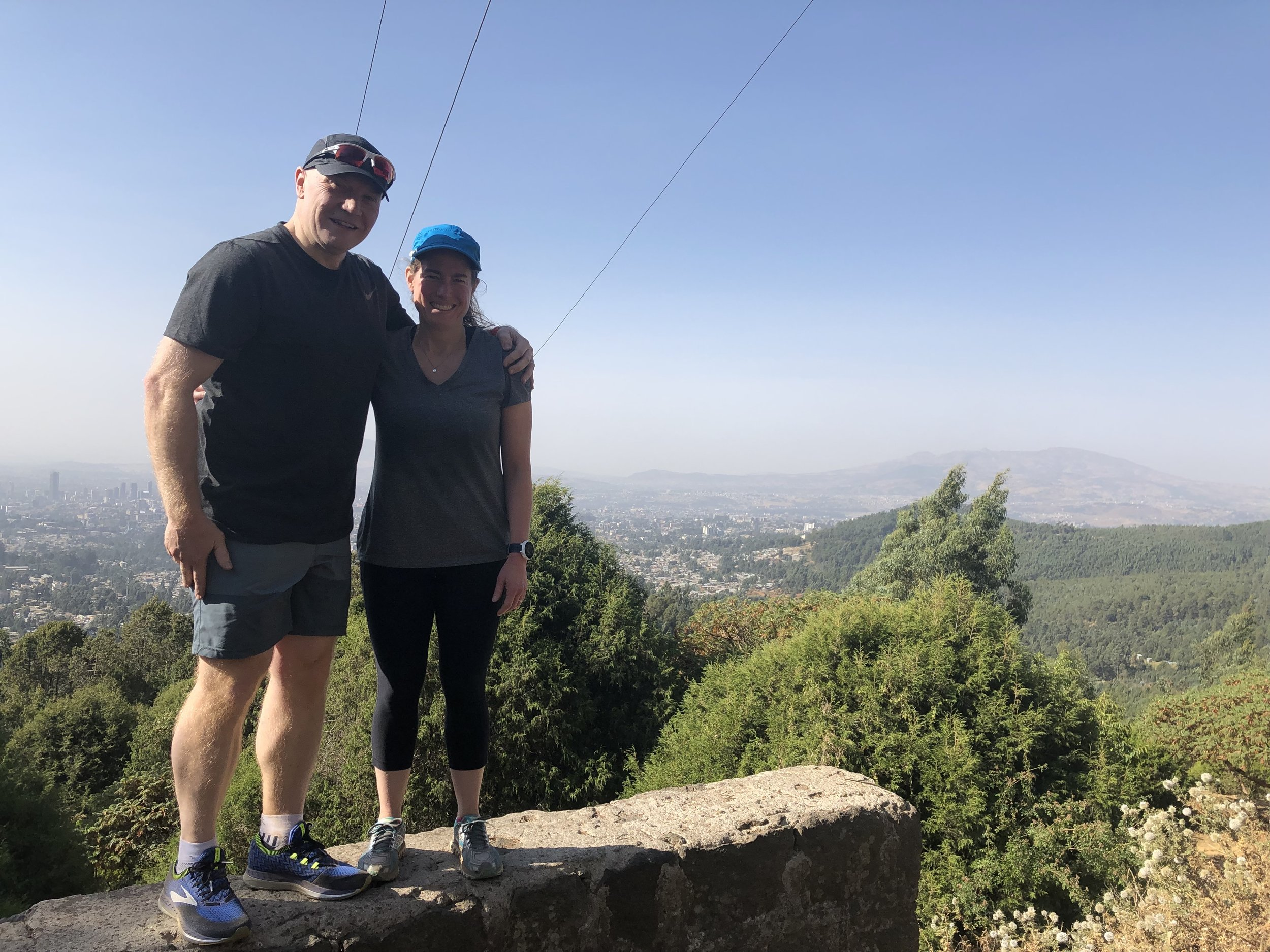 Breaking a rule about not posing in a perilous position - Overlooking Addis Ababa