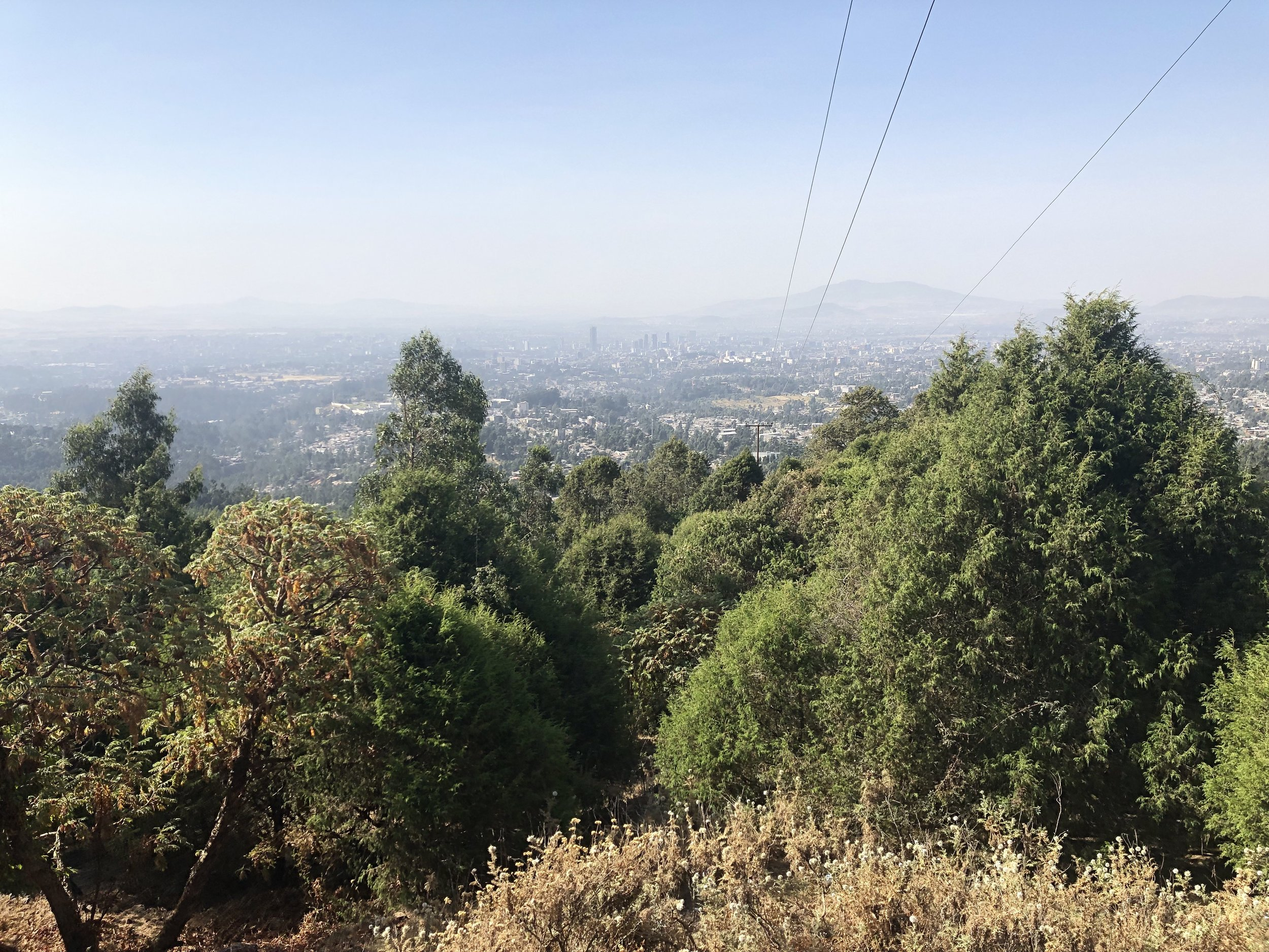 Looking toward Addis Ababa from the road up into the Entoto Mountains.