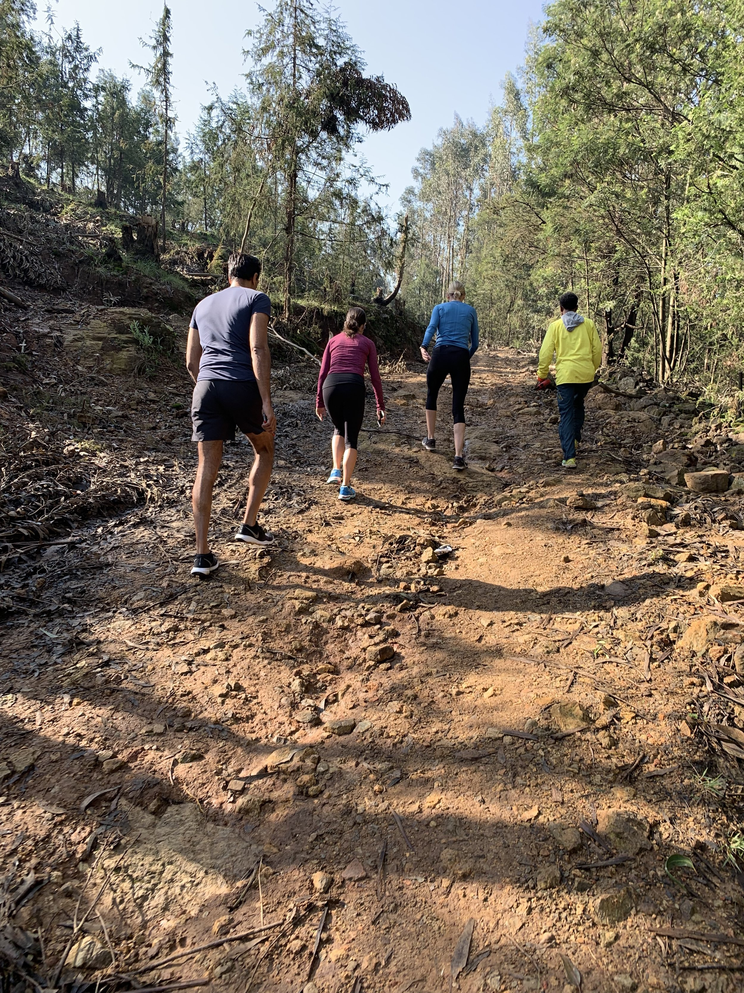 Heading up Yeka's trails.