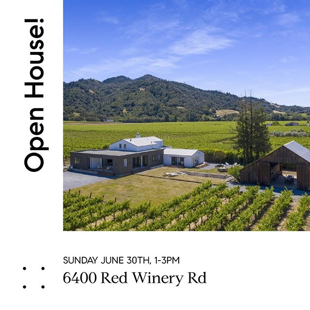 Modern Farmhouse nestled among the vines in Alexander Valley - Open this Sunday! Offered at $4,295,000  For more info visit: 6400redwinery.com