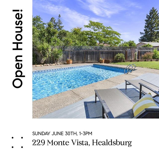 Large backyard, pool and close to downtown Healdsburg! Come check it out! For more info visit: 229montevista.com