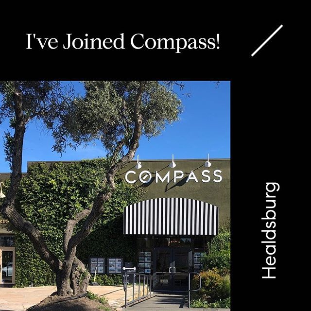 Excited to announce that I've joined #Compass! Come check out my new office at 109 Mill Street, #Healdsburg #realestate #compassrealestate #agentsofcompass #compassagents
