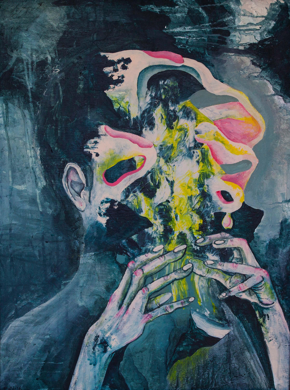 Self-portrait. Acrylic on canvas. 70cm x 100cm
