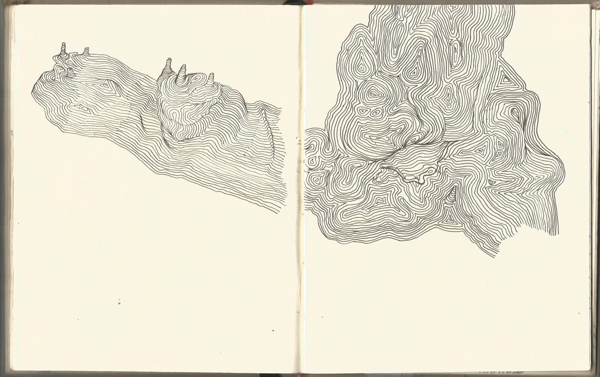 Sketchbook. Drawings of a tree trunk. 2015