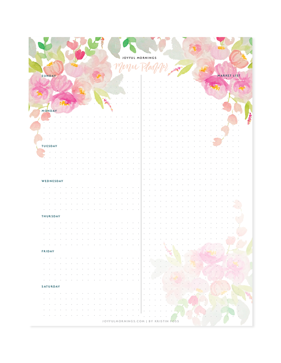 Free Menu Planner - Start off the week right + plan out your meals