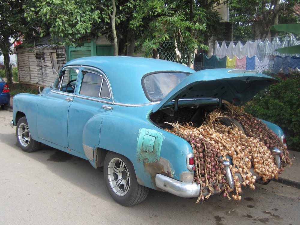 While walking about Vinales we came upon this man and his car and garlic and onions for sale!