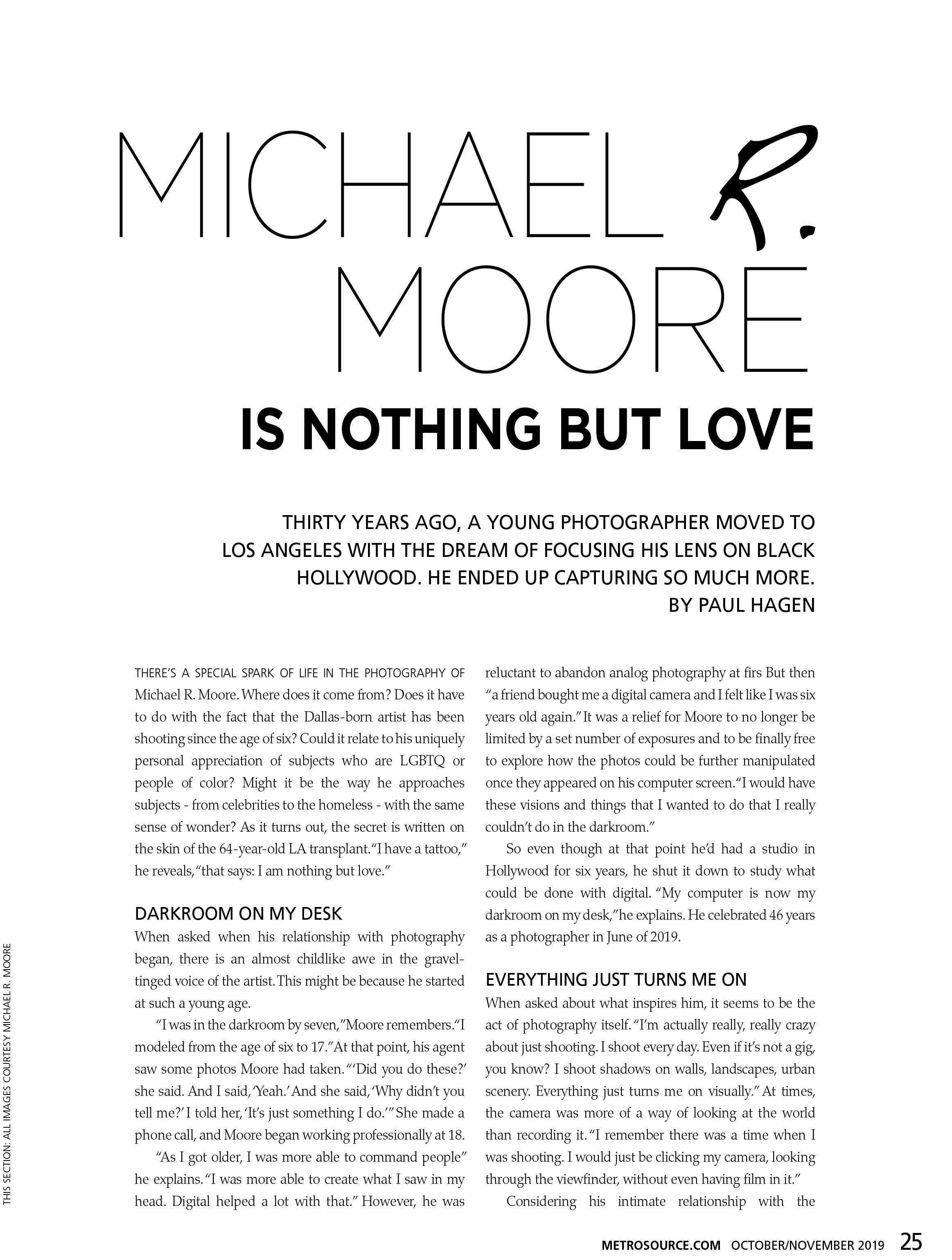 MICHAEL R. MOORE METRO SOURCE MAGAZINE FEATURED INTERVIEW Pg.25