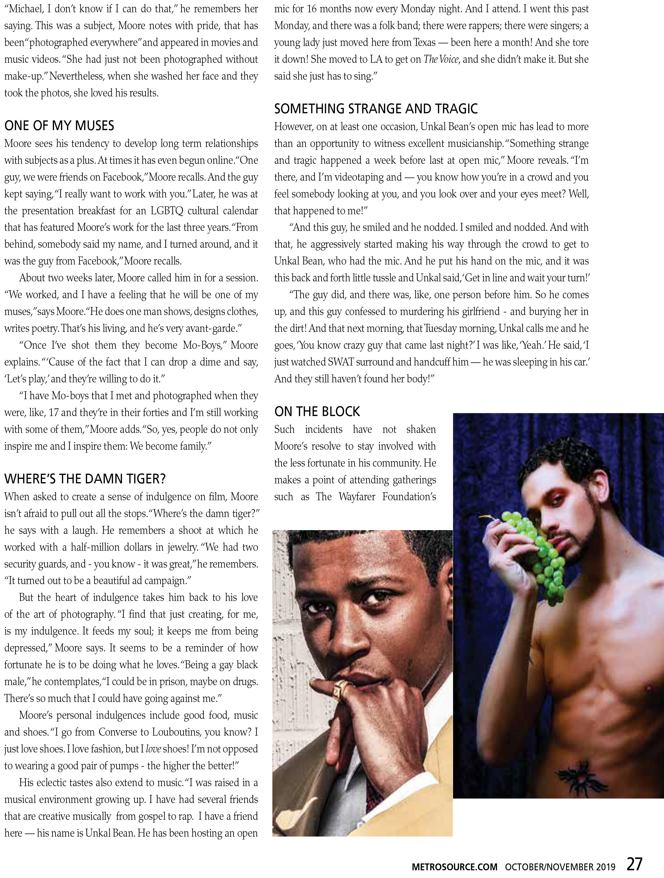 MICHAEL R. MOORE METRO SOURCE MAGAZINE FEATURED INTERVIEW Pg.27