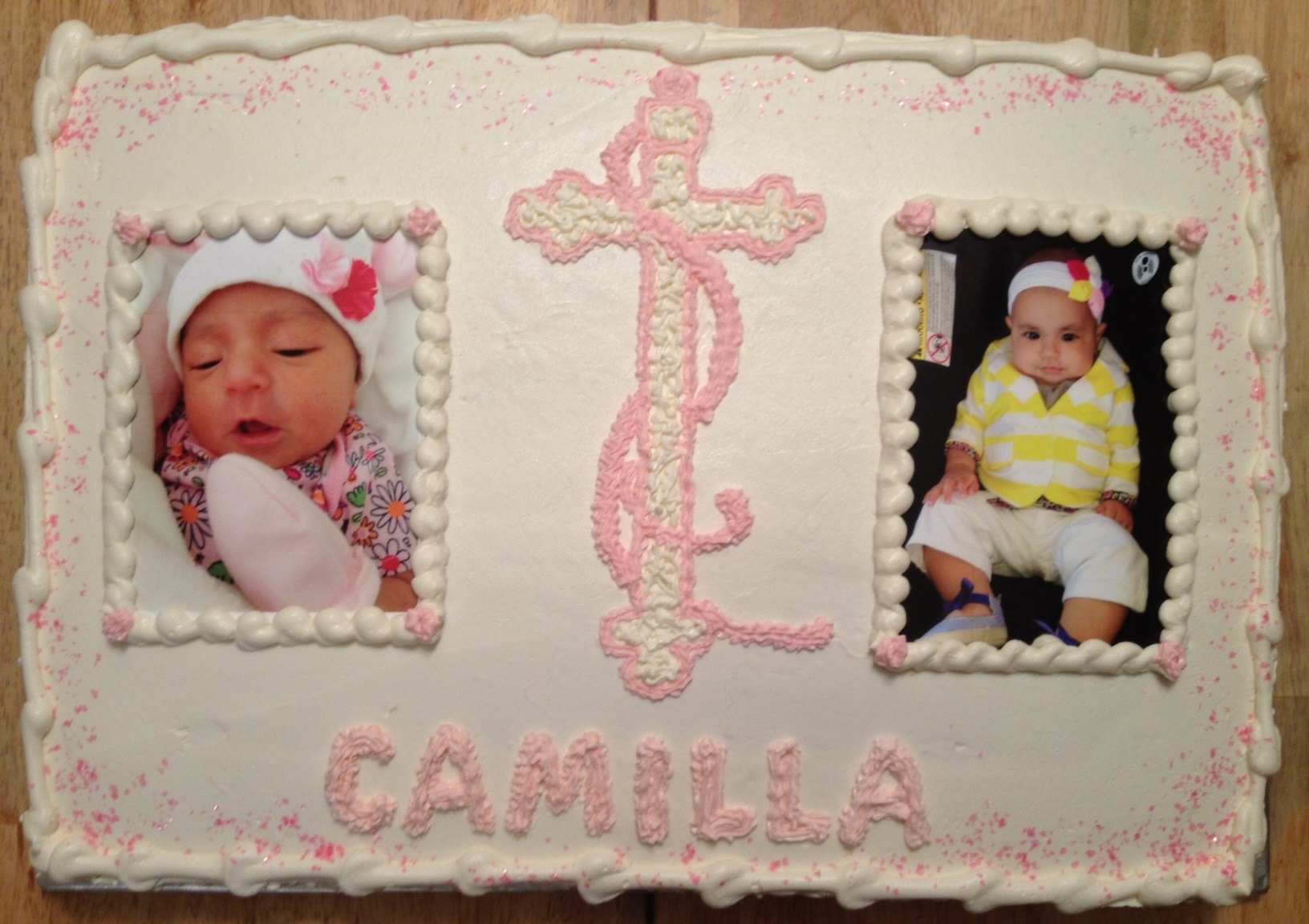 Baptism pink cross photo cake .jpg