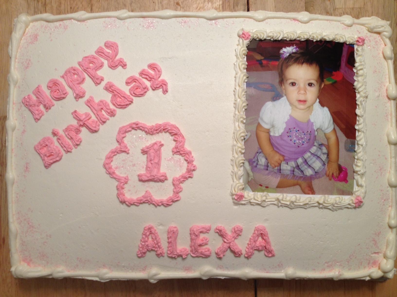 Alexa  1st birthday photo cake  .jpg