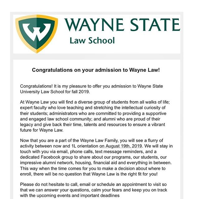 God is mighty and will do exceedingly abundantly above all we can imagine! Blessed to be joining Wayne Law this fall with a full ride Damon J. Keith scholarship 🙌🏾🙌🏾💪🏾