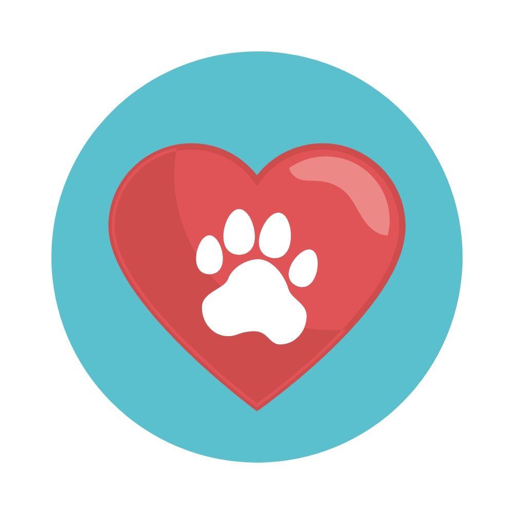 Paw Print Heart Icon