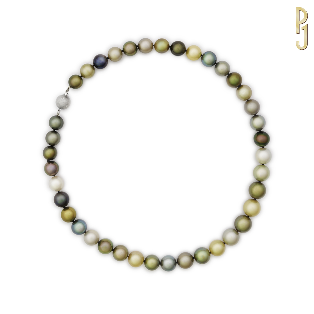 SOUTH SEA PEARLS - Necklace: Multi-coloured saltwater round pearls 9mm - 11.5mm with an 18ct. white gold clasp containing 6 diamonds.