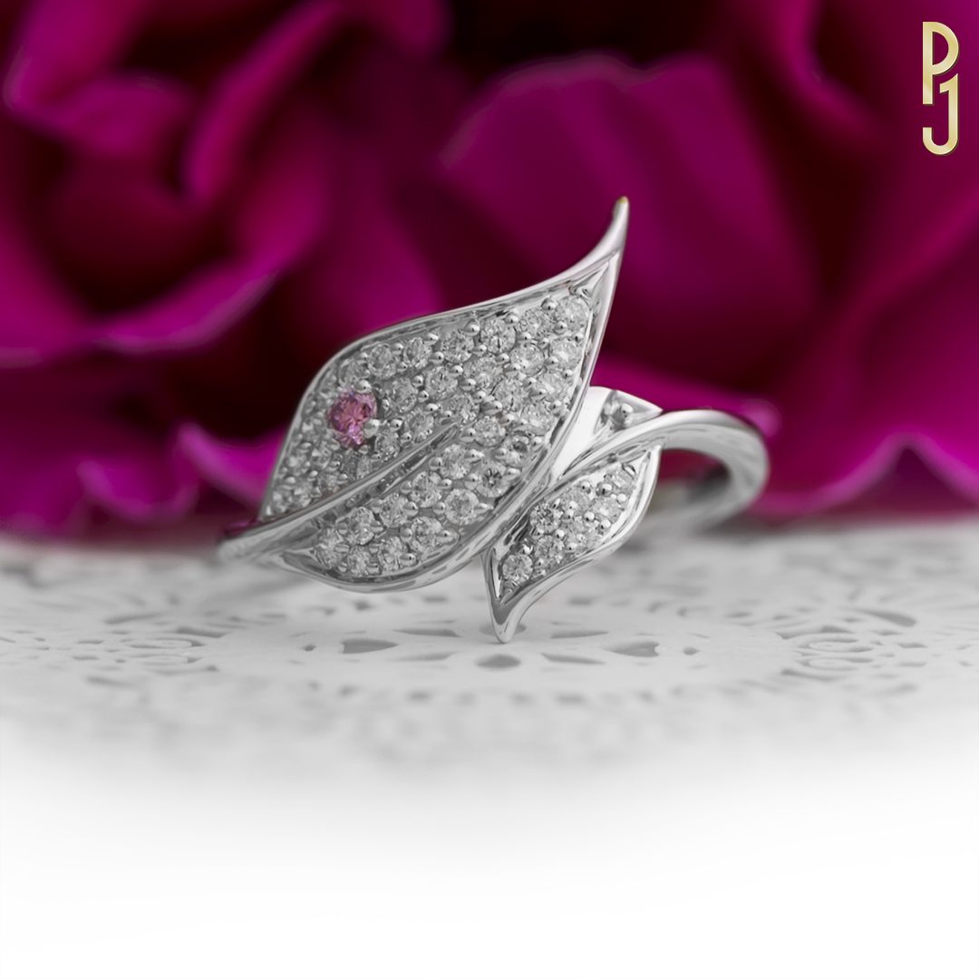 ARGYLE PINK DIAMOND LEAF - This 18ct white gold ring showcases 45 diamonds = 50pts and 1 x 6pt 5P Argyle pink diamond.It really pops!
