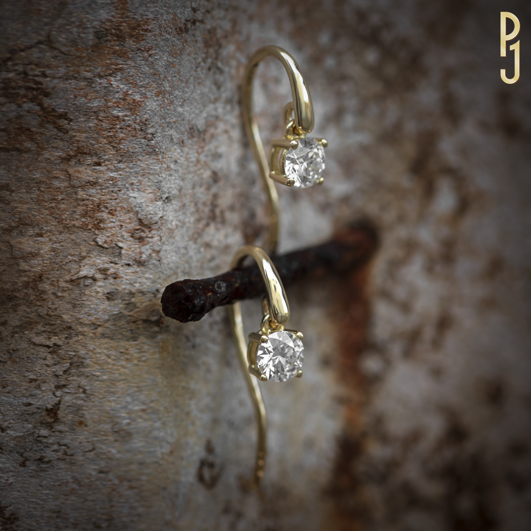 DROP EARRINGS - Simply stunning! Claw set half carat diamonds in 18ct yellow gold.Designed and custom-made by Philip. The settings can be made in your choice of rose gold, white gold, yellow gold or platinum. As is the quality and size of the diamonds.