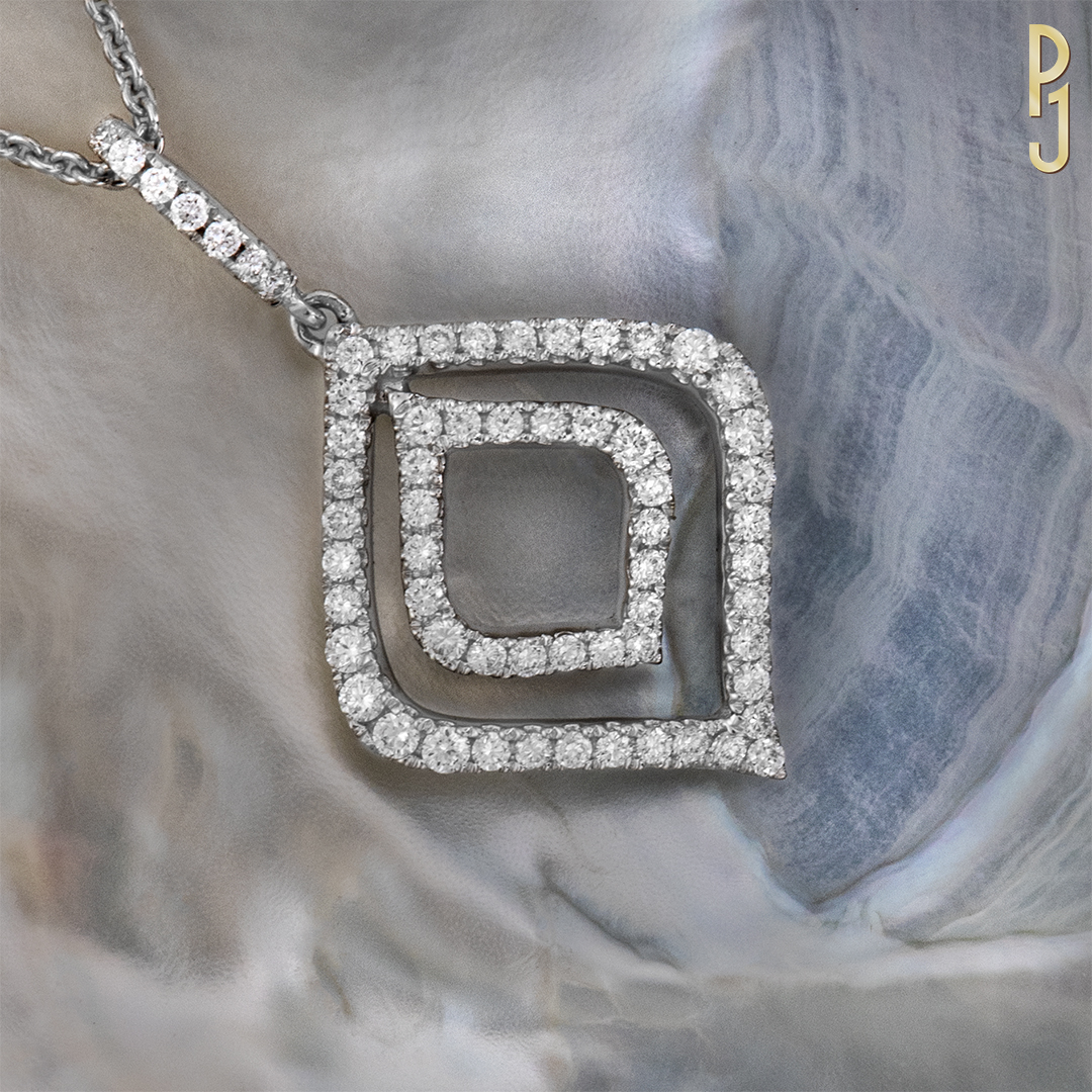 DIAMOND PENDANT - An 18ct white gold pendant containing 41pts of quality diamonds.