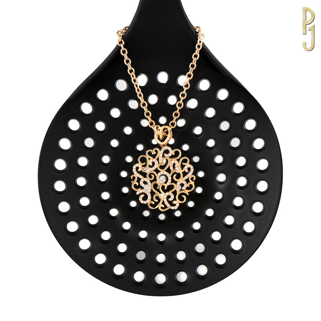 DIAMOND FILIGREE PENDANT - 88 diamonds = 52pts set into a beautiful rose gold pendant.