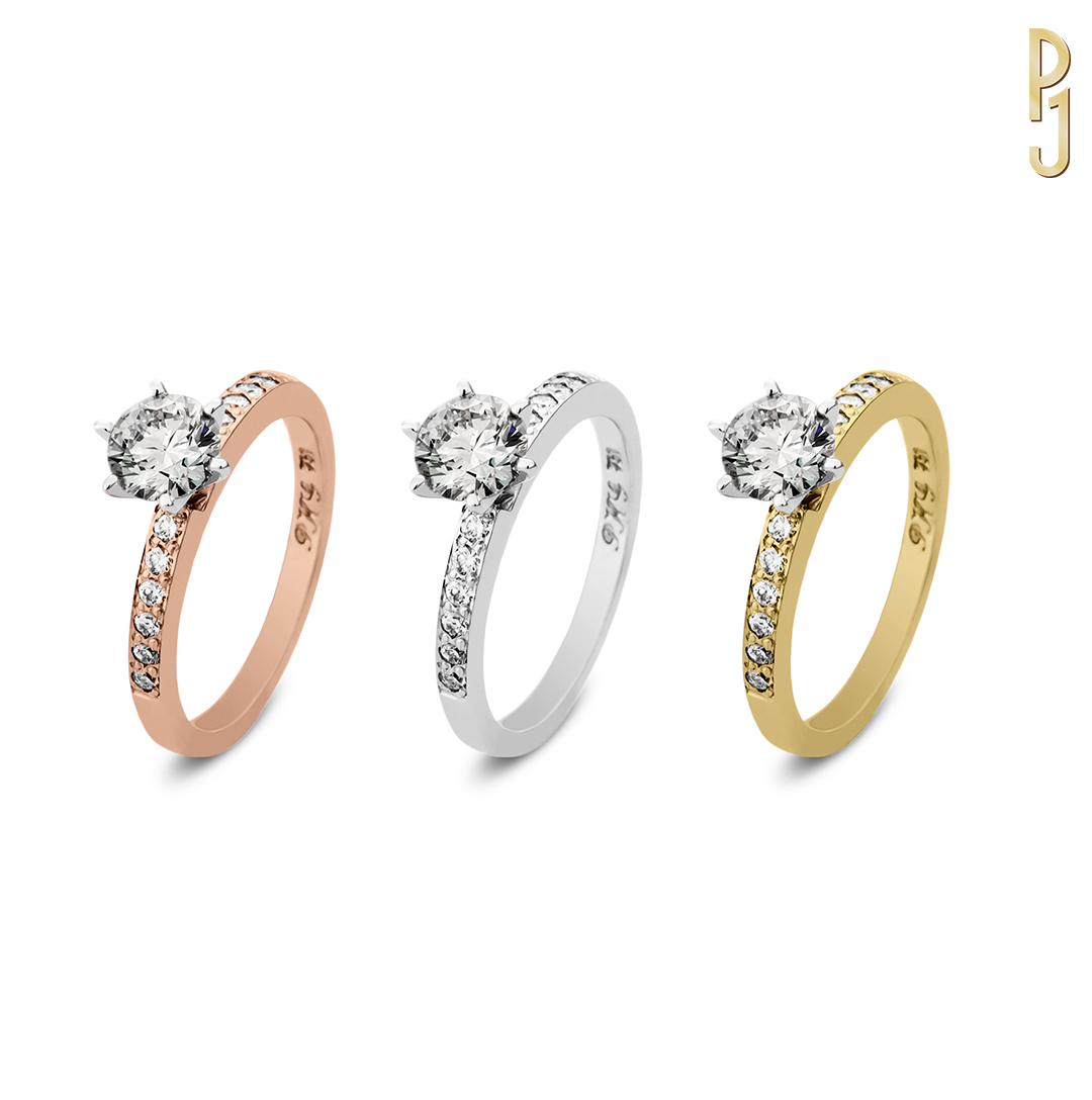 DIAMOND PAVÉ - Options - The band is available in your choice of rose gold, yellow gold, white gold or platinum. The quality and size of the centre diamond is also customisable to suit. Designed and handcrafted by Philip.