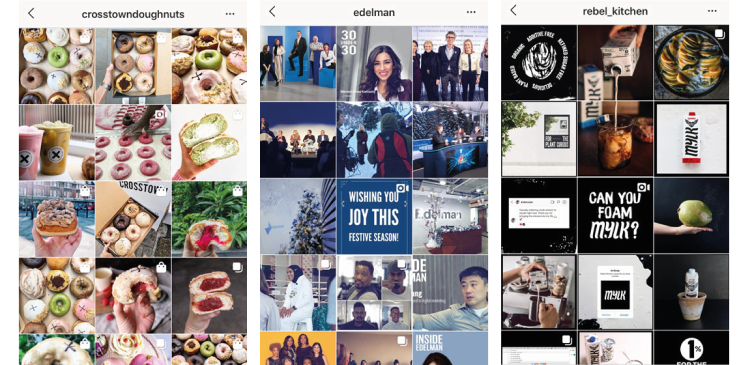 Examples of cohesive feeds from    @crosstowndoughnuts   ,    @edelman    and    @rebel_kitchen