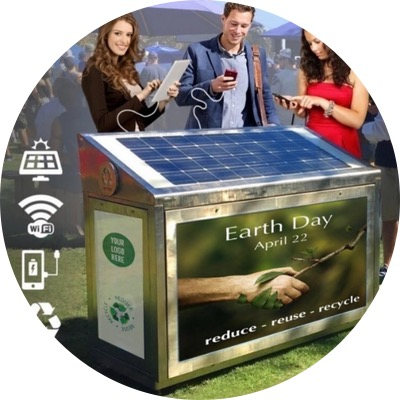 - SOLAR WIFI ECO BIN is WIFI enabled, easy to utilize, offer mobile device charging stations, their solar panel on top, powers LED lighting that illuminates all four sides of media space, for after dark display. This makes them a superb ADVERTISING MEDIA OPPORTUNITY… that CREATES ADDITIONAL REVENUE.SOLAR WIFI ECO-BINS combine social benefits and financial gains while making trash collection and recycling easier