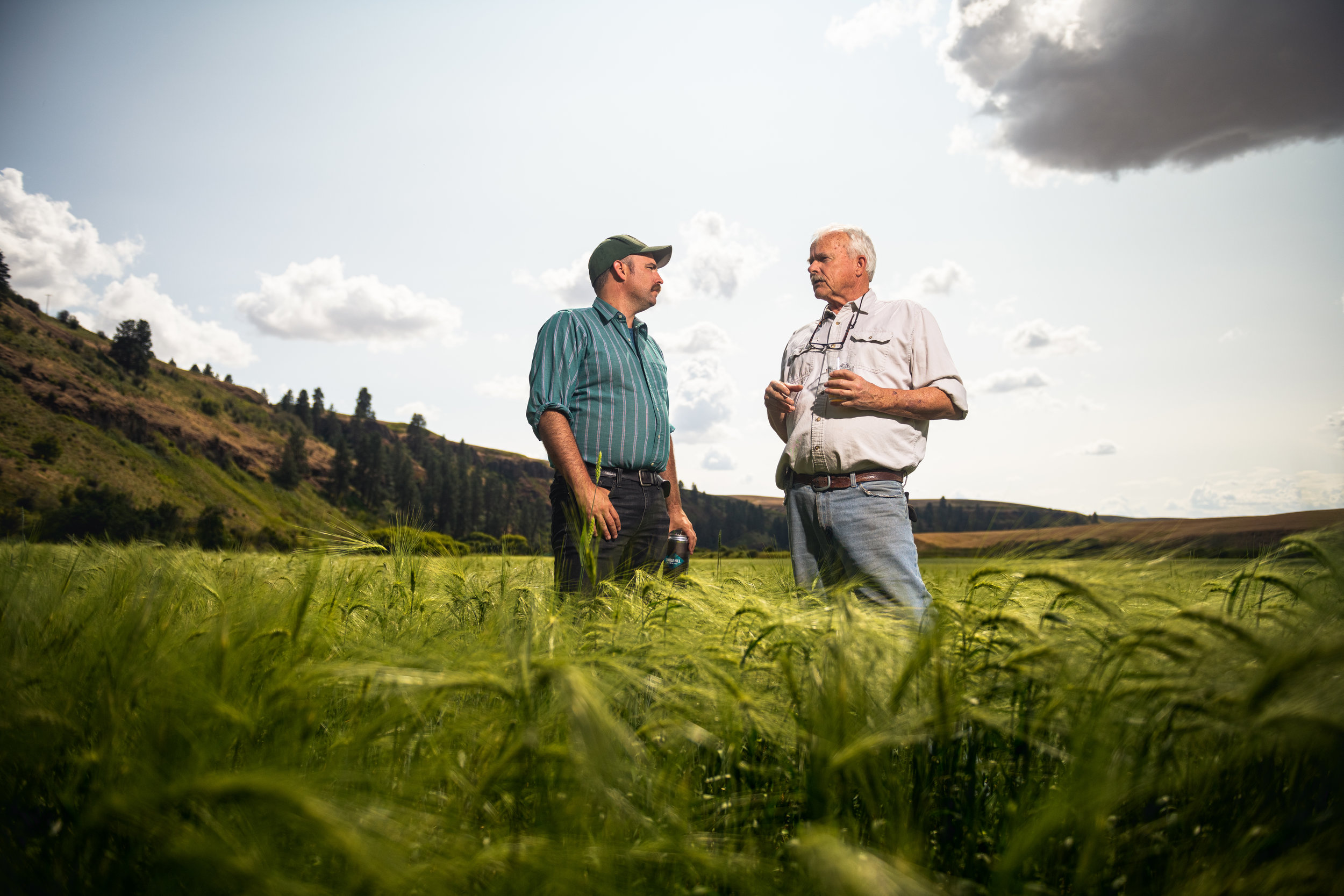 Don and Brian in field of Scots Bere Barley