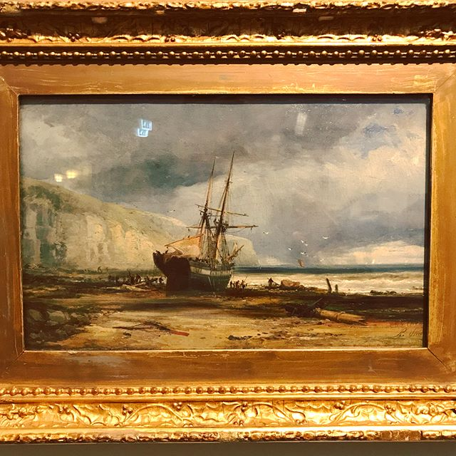 Found this little beauty at #ferensartgallery a maritime painting by Ralph Stubbs, love the rain in the distance and the thick use of paint, interesting that he died in #pickering #oilpainting #maritime #marinepainting #hull #capitalofculture