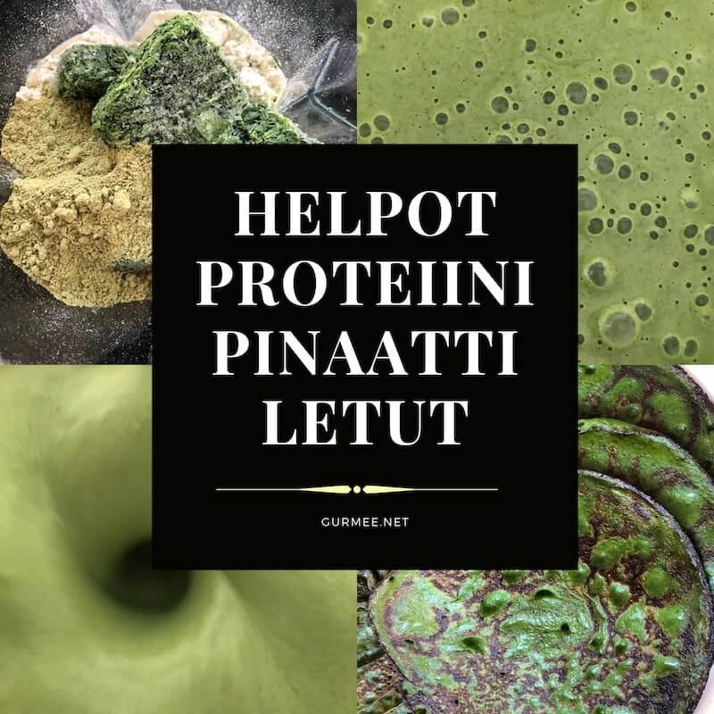 Helpot proteiinipinaattiletut -kollaasikuva