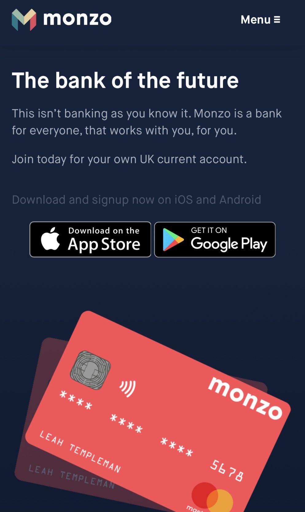 Monzo Bank Card