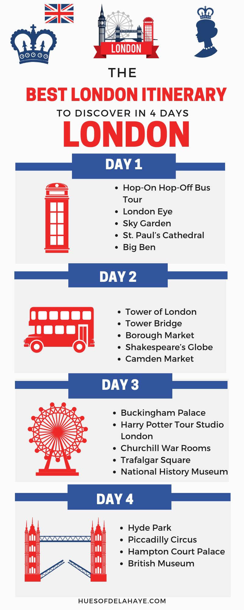 Want to know what to do in London in 4 days? Well this 4 days in London itinerary by a local is all you'll need for your London trip. This post has some of the best things to do in London including bucket lists activities like seeing Big Ben, Harry Potter studio tour and areas like Shoreditch. It even includes packing tips and what outfits and products to pack on your visiting to London. #travellondon