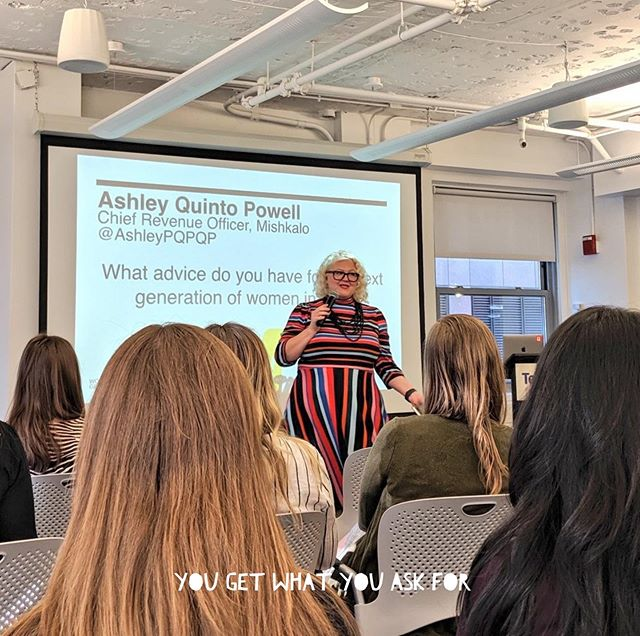 """I got to answer the question, """"what advice would you give to the next generation in tech?"""" At the @generalassembly #womenintech breakfast. I spoke about how my husband pushes me to take risks and put myself out there by saying, """"get up there, peanut!"""" . . . . . #yougetwhatyouaskfor #salarynegotiation #salarynegotiationtips #bestfriend #husbandoftheyear #generalassembly #powerhousewomen"""
