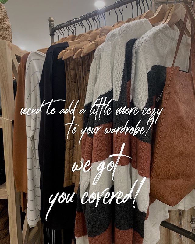 Both locations are stocked with new fashion merchandise! Stop by to see more in store!  #fashion #discoverlancaster #visitpa #cocalicocreekfashion #cocalicocreekhome #sweaterweather #bringonthecold #newwordrobe #chillydaysahead