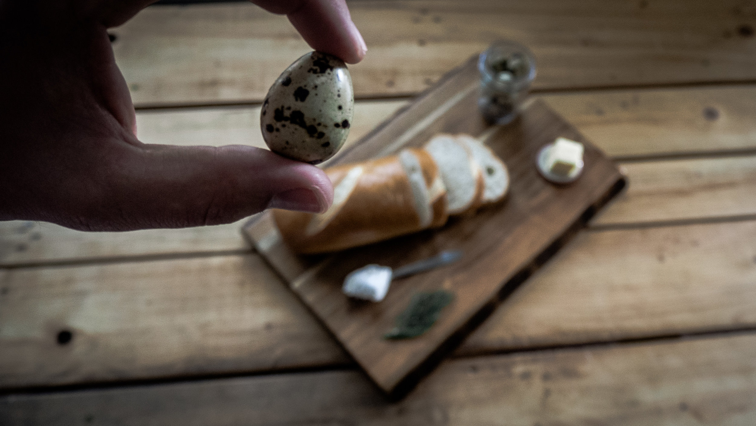 A quail egg, often spotted, is about 1/4 the size of a grocery store chicken egg.