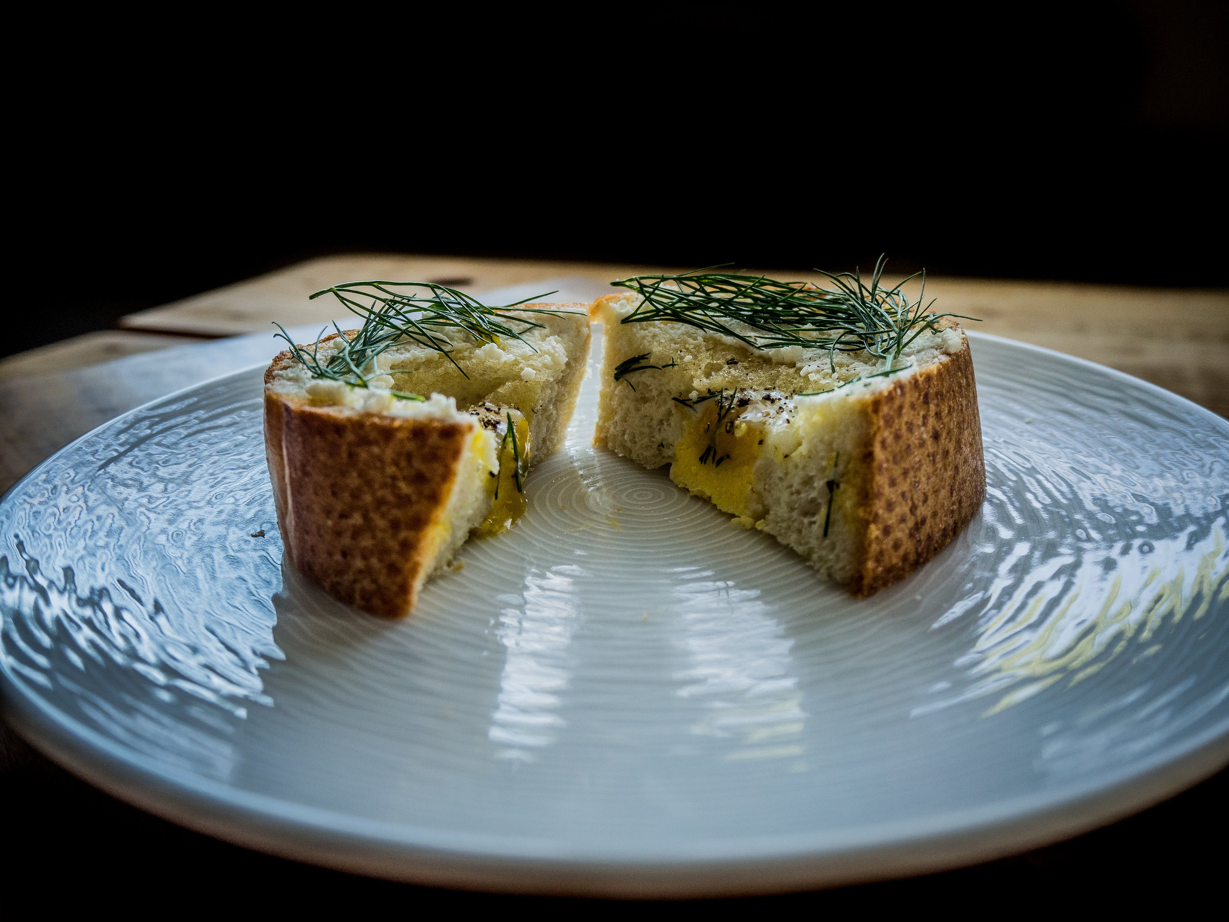 The yokes should be slightly runny, while the white of the egg is firm. The dill will add a fresh, light pop of flavor to each bite.
