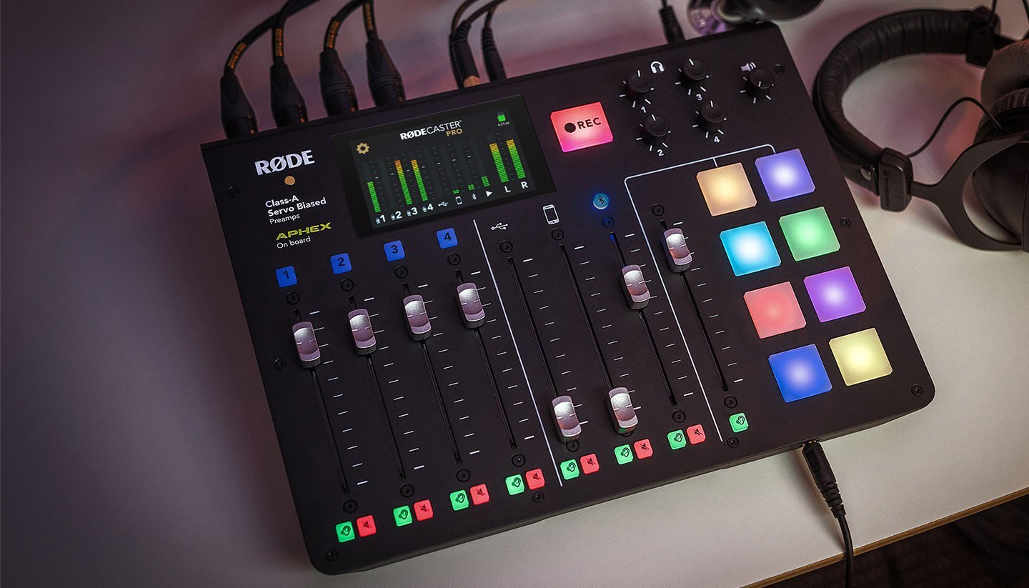 RØDECaster Pro - The RØDECaster Pro is the world's first fully integrated podcast production studio. Whether you are just starting out, or are a seasoned broadcast professional, the RØDECaster Pro Podcast Production Studio is all you will ever need.