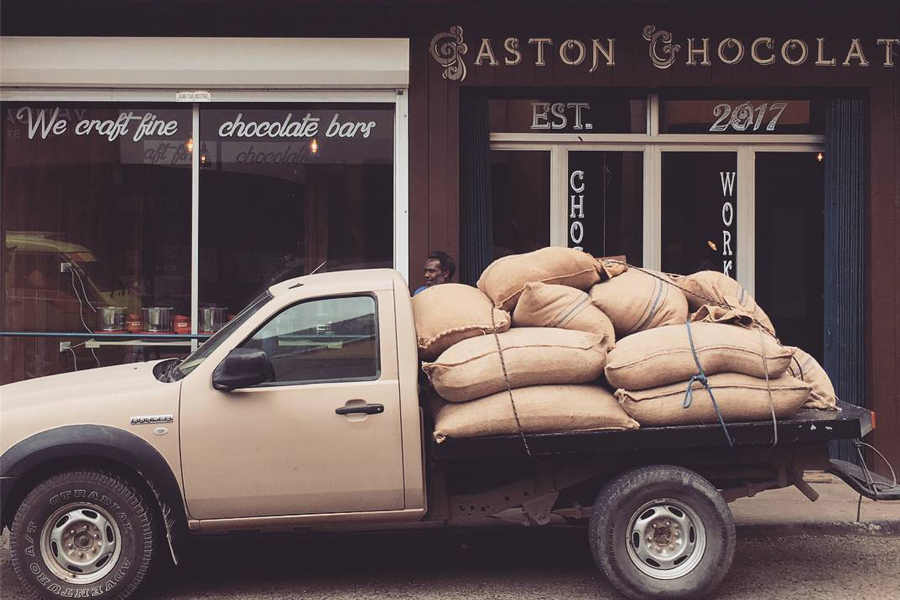 The ultimate in chocolate - Frank Halbauer, our partner from Vanuatu, brings in the utterly scrumptious Gaston Chocolates to Purple Hemp. The chocolatier is a heralded chocolate maker from the tiny island of Vanuatu. Stop by for a taste of Gaston chocolate – it is truly from another world.