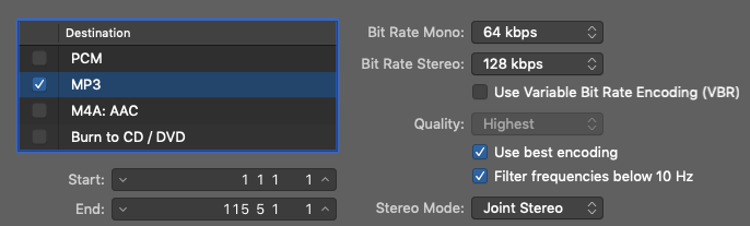 Sample of the export settings in Logic Pro X