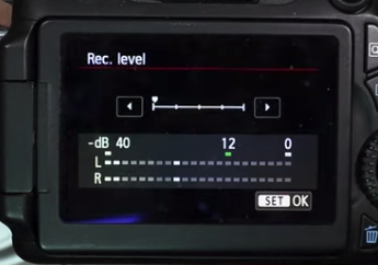 Example of camera recording level set as low as possible.