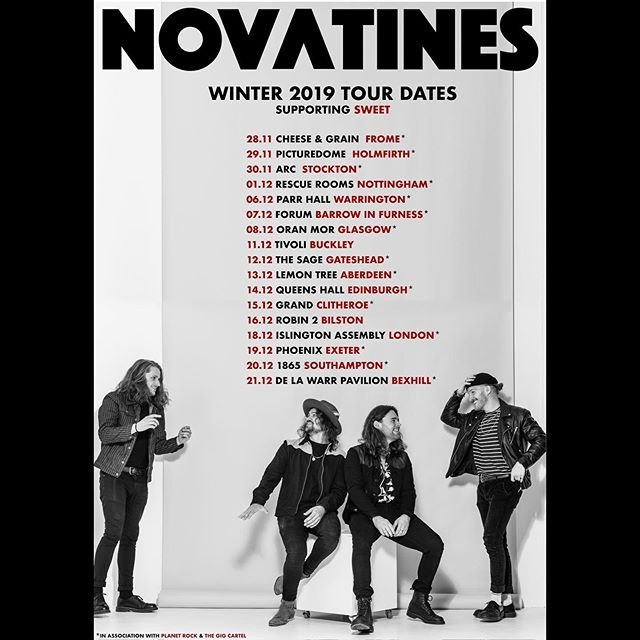 BACK ON THE ROAD. 🚐🇬🇧🚐🇬🇧🚐 Catch us ending 2019 in style with a fat run of tasty shows across the UK supporting The Sweet! ✊🏻✊🏻✊🏻✊🏻 See you pon de road. 🦅🦅🦅🦅 📸: @colinhawkinsphotography • • #Novatines #Sweet #newmusic #livemusic #rockmusic #getittogetger #hatelove #medicine #novatinesband #indierock #altrock #spotify #applemusic
