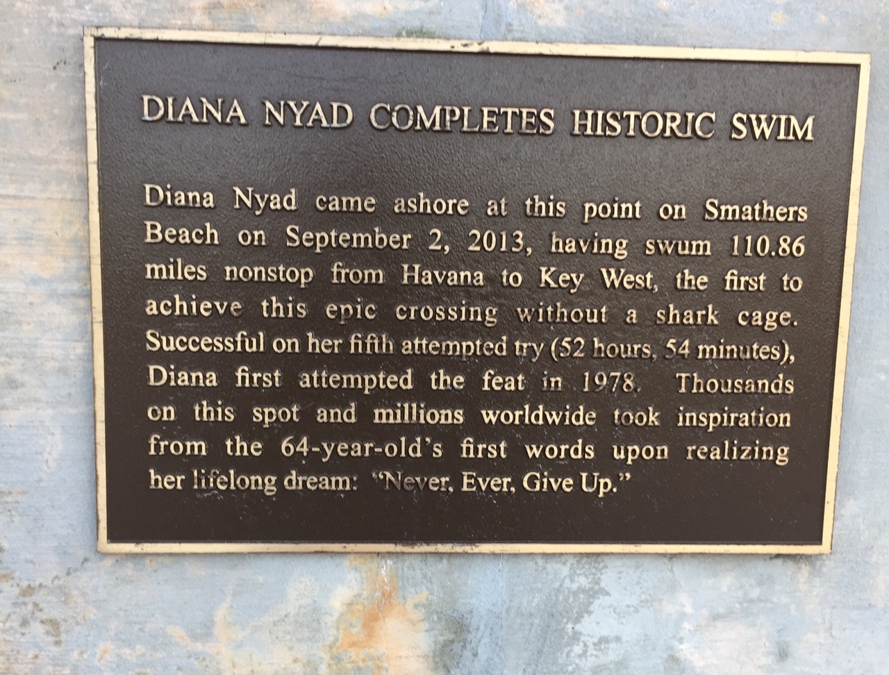 "Do you remember when Diana Nyad swam from Havana to Key West? I was riveted, and so I made it a mission to find this plaque on Smathers Beach. ""Never. Ever. Give Up."""